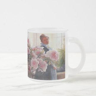 Carl Larsson Azalea Floral Vintage Fine Art 10 Oz Frosted Glass Coffee Mug