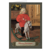 Carl Larsson Boy on rocking horse CC0078 Christmas Card