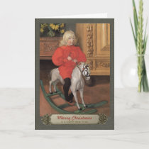 Carl Larsson Boy on rocking horse CC0078 Christmas Holiday Card