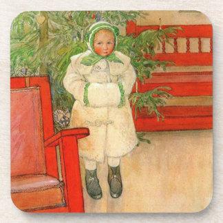 Carl Larsson Christmas Girl with Winter Muff Coaster