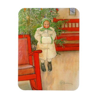 Carl Larsson Christmas Girl with Winter Muff Magnet