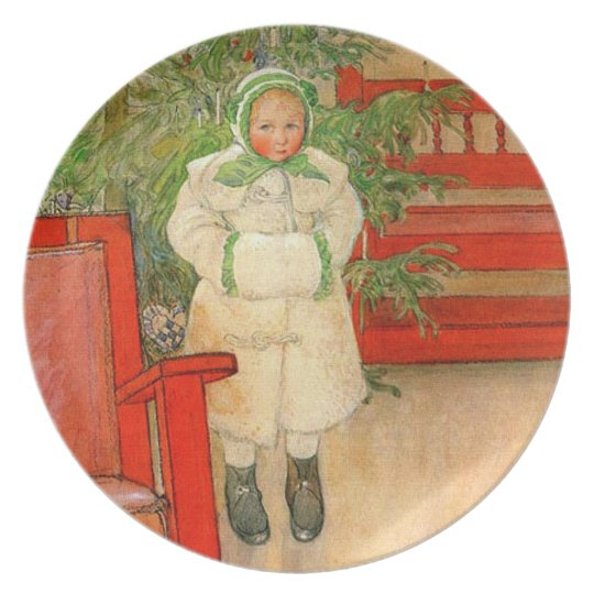 Carl Larsson Christmas Girl with Winter Muff Melamine Plate