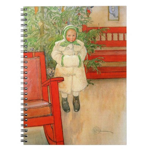Carl Larsson Christmas Girl with Winter Muff Notebooks