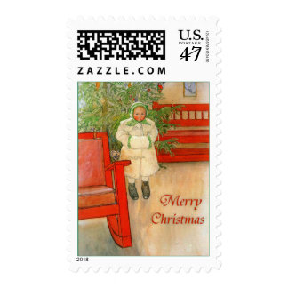 Carl Larsson Christmas Girl with Winter Muff Stamp