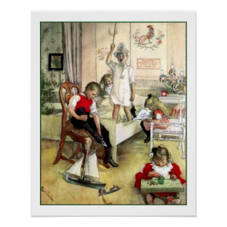Carl Larsson Christmas Morning Vintage Scandinavia Poster