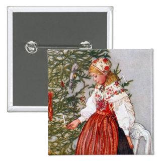 Carl Larsson Christmas Tree Button Pin
