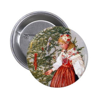 Carl Larsson Christmas Tree Button Pin