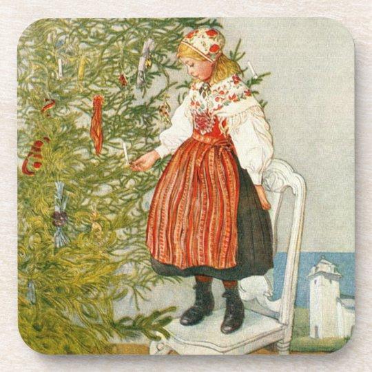 Carl Larsson Christmas Tree Confetti Drink Coaster