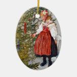 Carl Larsson Christmas Tree Custom Ornament Oval