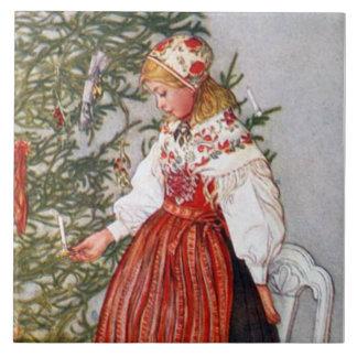 Carl Larsson Christmas Tree Fine Art Tile Trivet