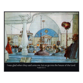 Carl Larsson Church with Psalm 122 I Was Glad Posters