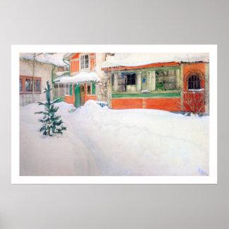 Carl Larsson Cottage in Snow Fine Art Print