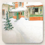 "Carl Larsson Cottage in Snow Home Coaster<br><div class=""desc"">Beautiful       vintage   fine art watercolor painting by Carl Larsson of  his Cottage in the Snow,  where he lived with his family,  is on this 