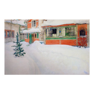 Carl Larsson Cottage in Snow Poster Fine Art Print