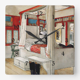 Carl Larsson - Daddy's Room Square Wall Clock