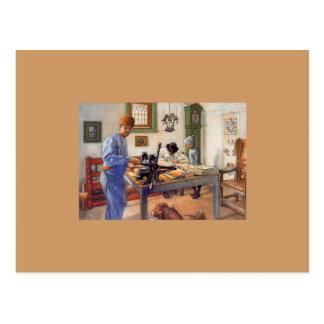 Carl Larsson en el taller 1853 Postal