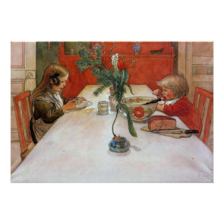 Carl Larsson Evening Meal Poster Fine Art Print
