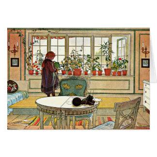 Carl Larsson - flores en el Windowsill Tarjeta De Felicitación