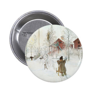 Carl Larsson  Front Yard and the Wash House Button