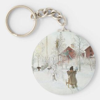 Carl Larsson - Front Yard and the Wash House Basic Round Button Keychain