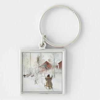 Carl Larsson  Front Yard and the Wash House Keychain