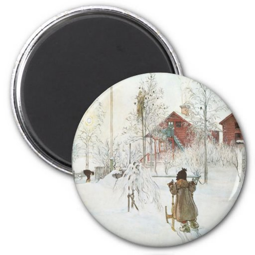 Carl Larsson - Front Yard and the Wash House Fridge Magnets