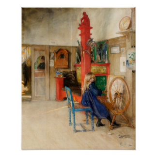 Carl Larsson Girl with Spinning Wheel Poster
