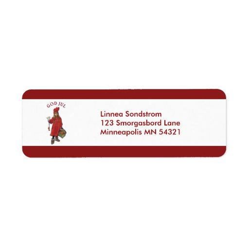 Carl Larsson: God Jul Christmas Return Address Label