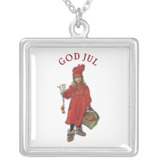 Carl Larsson God Jul Merry Christmas 1901 Square Pendant Necklace