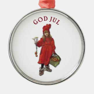 Carl Larsson God Jul with Brita - Merry Christmas Metal Ornament