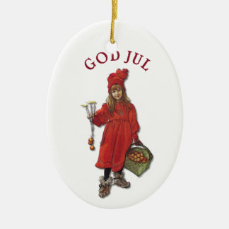 Carl Larsson God Jul with Brita - Merry Christmas Double-Sided Oval Ceramic Christmas Ornament