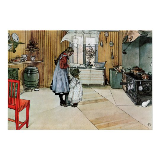 Carl Larsson In the Kitchen Fine Art Poster