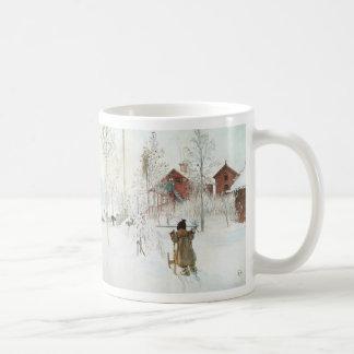 Carl Larsson - jardín y la casa del lavado Taza