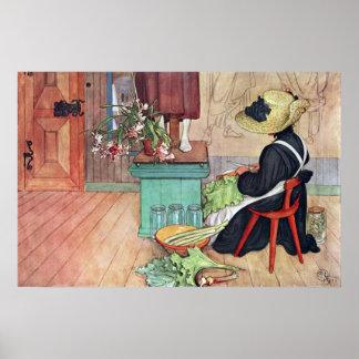 Carl Larsson Karin Peeling Rhubarb Fine Art Poster