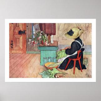Carl Larsson Karin Peeling Rhubarb Fine Art Print