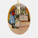 Carl Larsson - la cocina Adorno Navideño Ovalado De Cerámica