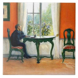 Carl Larsson - lectura requerida Azulejo Cuadrado Grande