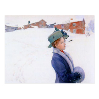 Carl Larsson Lisbeth's New Hat Holiday Winter Postcard