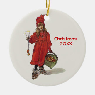 Carl Larsson Little Swedish Girl: Brita as Iduna Double-Sided Ceramic Round Christmas Ornament