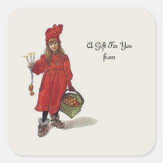 Carl Larsson Little Swedish Girl: Brita as Iduna Square Sticker