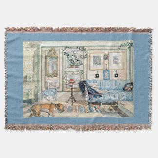 Carl Larsson Living Room Home Dog Family Throw