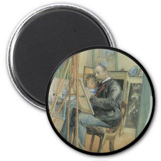 Carl Larsson que pinta con su hija Imán Redondo 5 Cm
