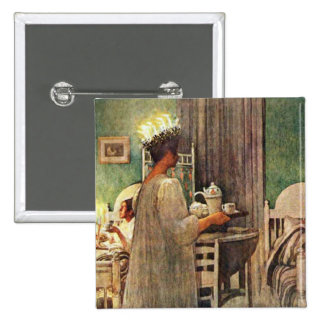 Carl Larsson St. Lucia Day Christmas in Sweden Button