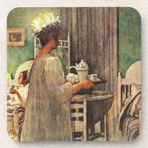 Carl Larsson St. Lucia Day Christmas in Sweden Beverage Coasters