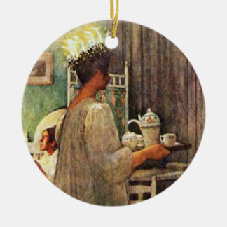 Carl Larsson St. Lucia Day Christmas in Sweden Double-Sided Ceramic Round Christmas Ornament