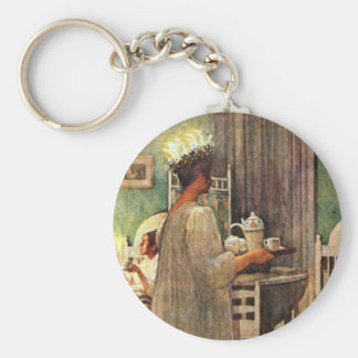 Carl Larsson St. Lucia Day Christmas in Sweden Keychain