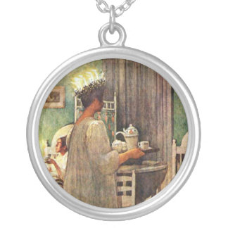 Carl Larsson St. Lucia Day Christmas in Sweden Round Pendant Necklace