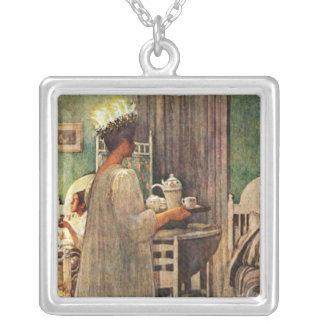 Carl Larsson St. Lucia Day Christmas in Sweden Square Pendant Necklace