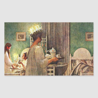 Carl Larsson St. Lucia Day Christmas in Sweden Rectangular Stickers