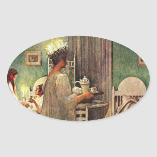Carl Larsson St. Lucia Day Christmas in Sweden Oval Sticker
